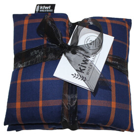Blue Orange Plaid Jumbo Cotton Wheat Bag